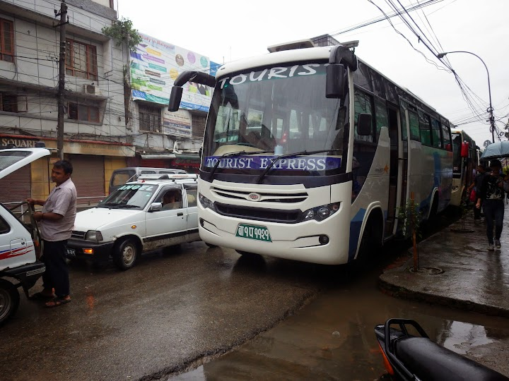Our tourist bus to Pokhara. The journey took us 6 and a half hours. Since it's low season, so there's no traffic jam. It's just raining all the way