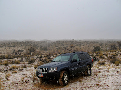 When I got back to the Jeep the snow was beginning to stick to the ground