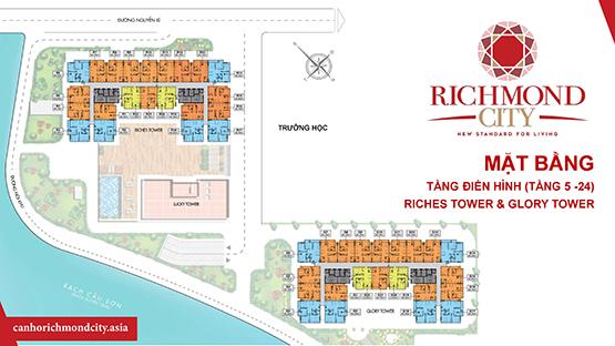 mặt bằng tổng thế căn hộ richmond city