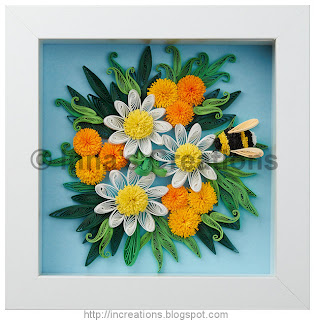 Quilling picture: Daisies and a bumblebee