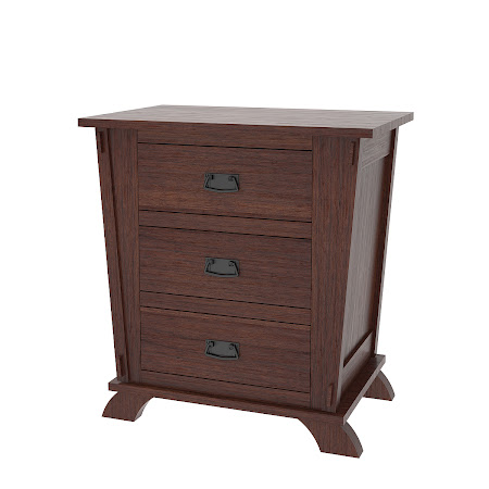 Baroque Nightstand with Drawers, Stormy Walnut