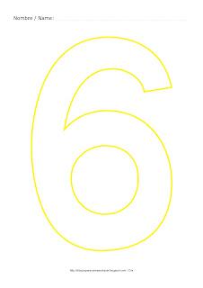 Dibujo para colorear y pintar el número seis en color amarillo