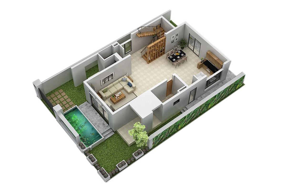 Mặt bằng tầng 1 Biệt thự San Hô FLC Sầm Sơn