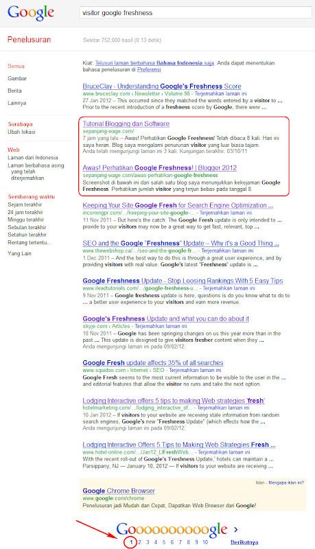 Google Freshness benar-benar suka yang fresh!