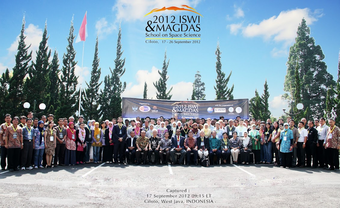 Participants and lecturers in the 2012 ISWI and MAGDAS School on Space Science at Ciloto, Indonesia (17-26 September 2012)