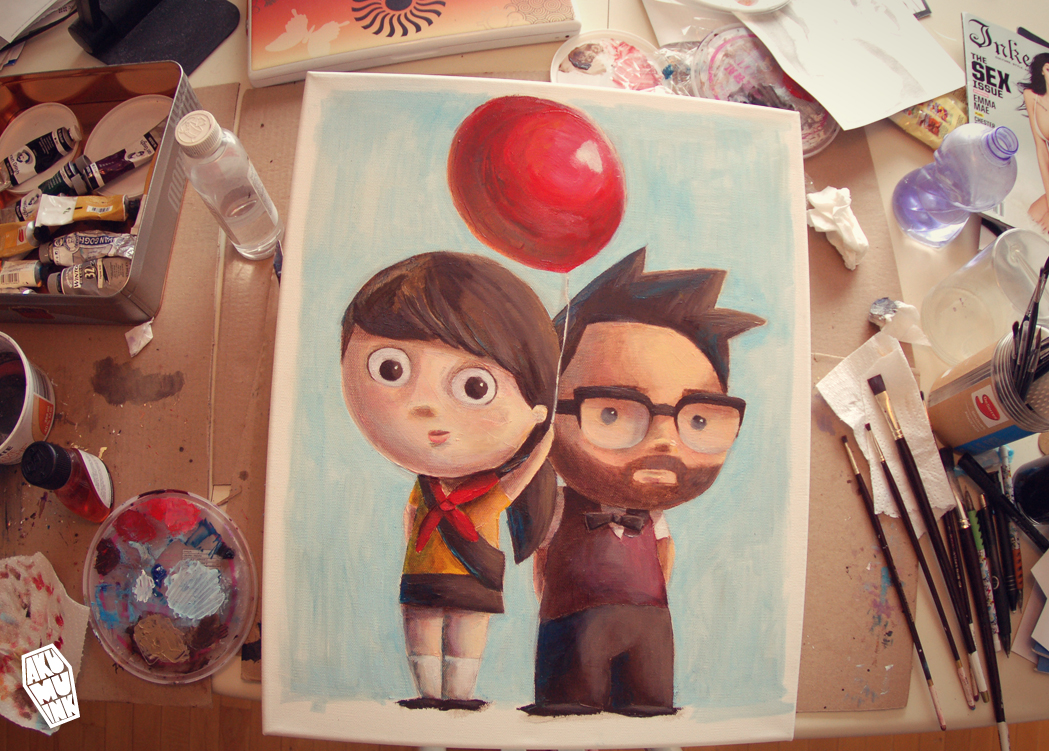 pixar up painting, disney up art, balloon art, red balloon, charicature, custom painting, original cute painting, cute character artist, self painting cute, cute oil painting, cute home art, custom portrait, cute portrait, cute portrait art, custom portrait painting