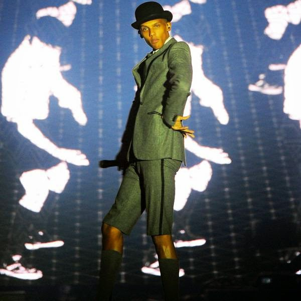 Belgian singer Stromae performs on the main stage of the Francofolies music Festival in La Rochelle on July 14, 2014.