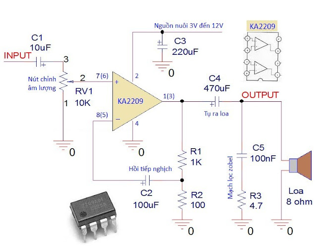KD%2520audio%2520D2822 Mạch ứng dụng: Mạch khuếch đại âm thanh đơn giản với IC KA2209 hoặc D2822
