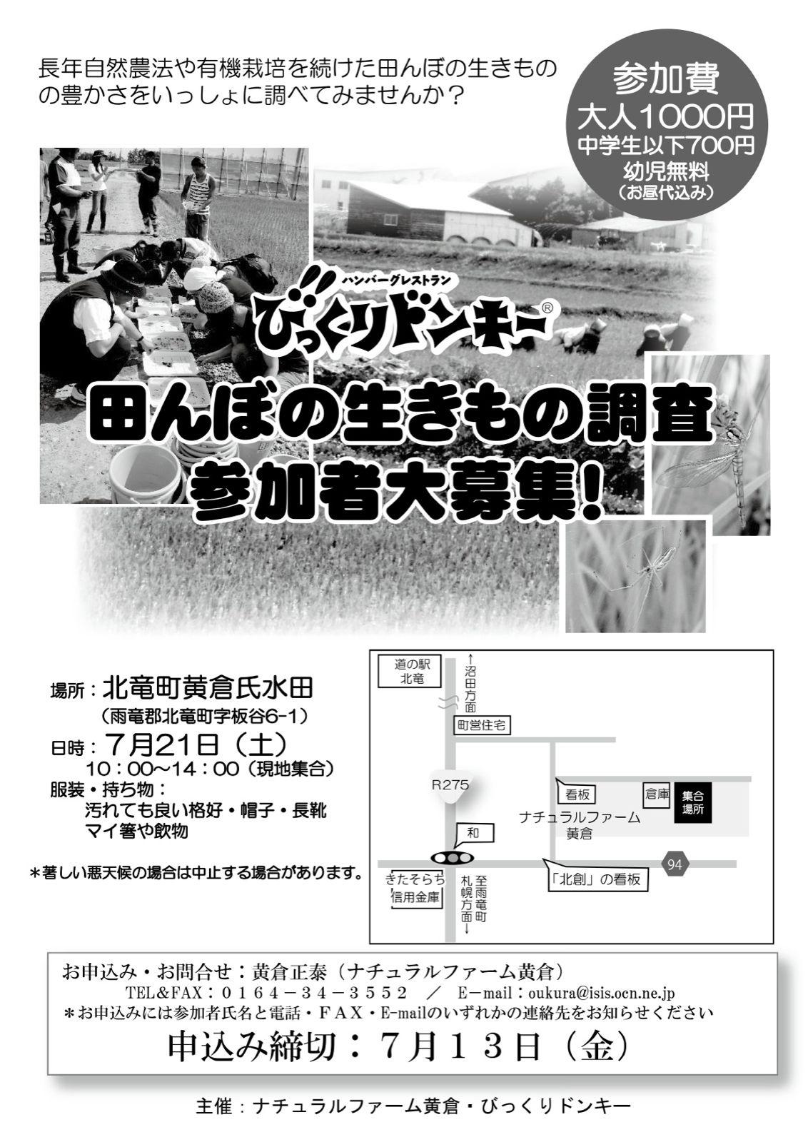 びっくりドンキー・田んぼの生きもの調査2012