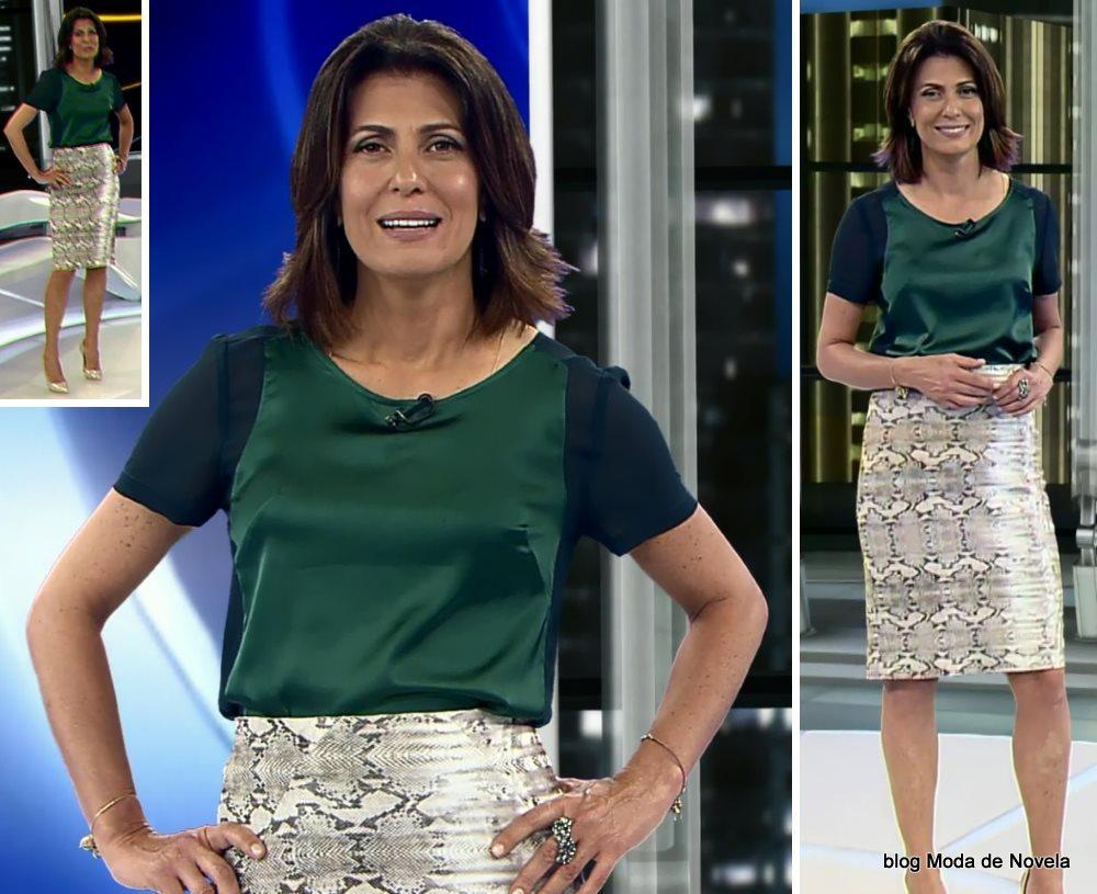 moda do programa Domingo Espetacular - look da Janine Borba dia 31 de agosto