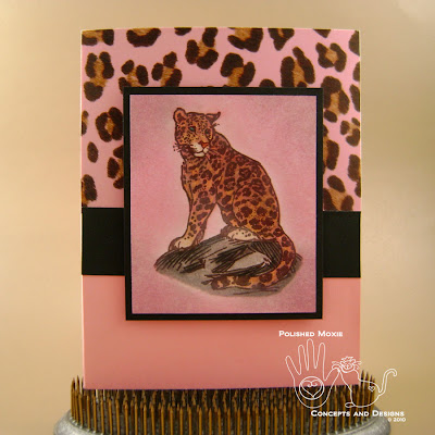 Picture of the front of the pink leopard card