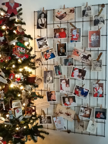 Display old photos for Christmas on vintage wire with small clothes pegs |Robin Davis Studio