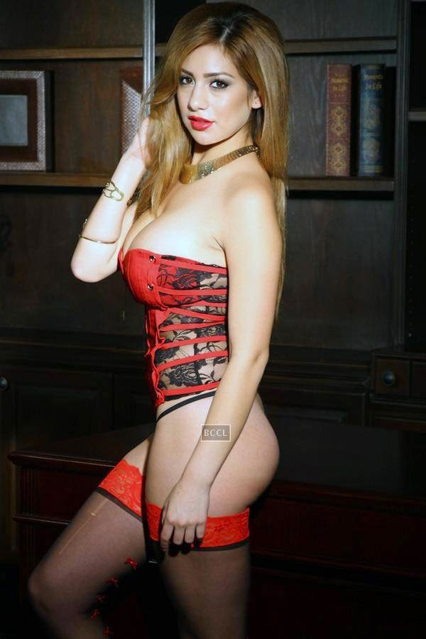 The sexy corset in red and black net creates the magic and lets the model spread her charm.