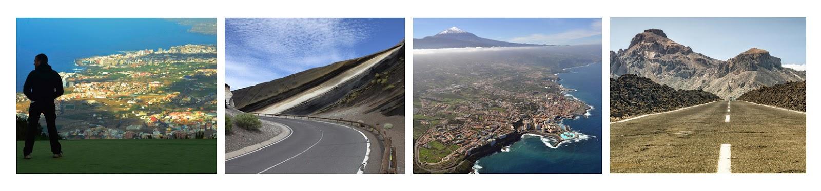 Curva de la tarta, Vista del valle de la Orotava, vista aérea del Puerto de la Cruz y carretera en las Cañadas del Teide.