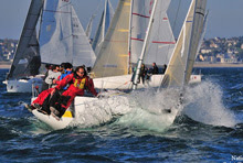 J/80 sailing French Nationals off Saint Cast, France