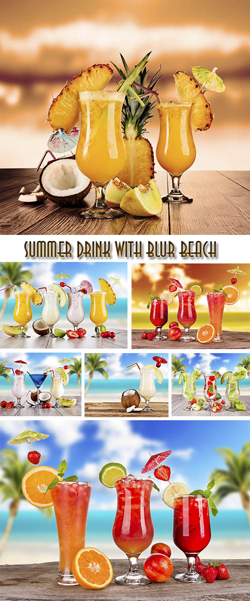 Stock Photo: Summer drink with blur beach
