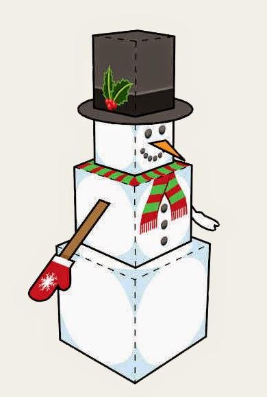 Papercraft imprimible y armable de un Muñeco de nieve / Snowman. Manualidades a Raudales.