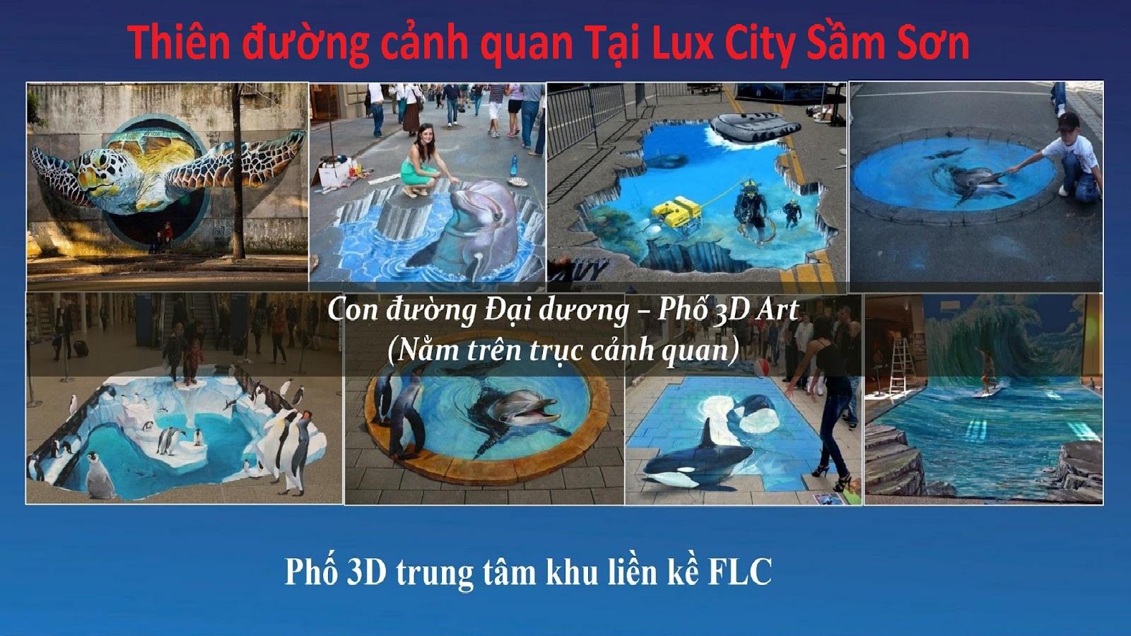 con đường 3D nghệ thuật tại khu phố lux city