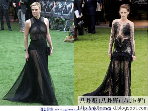 莎莉賽隆(左)與克莉絲汀史都華都以黑色系禮服出席《公主與狩獵者》首映,競艷味道濃厚。(圖/達志影像)
