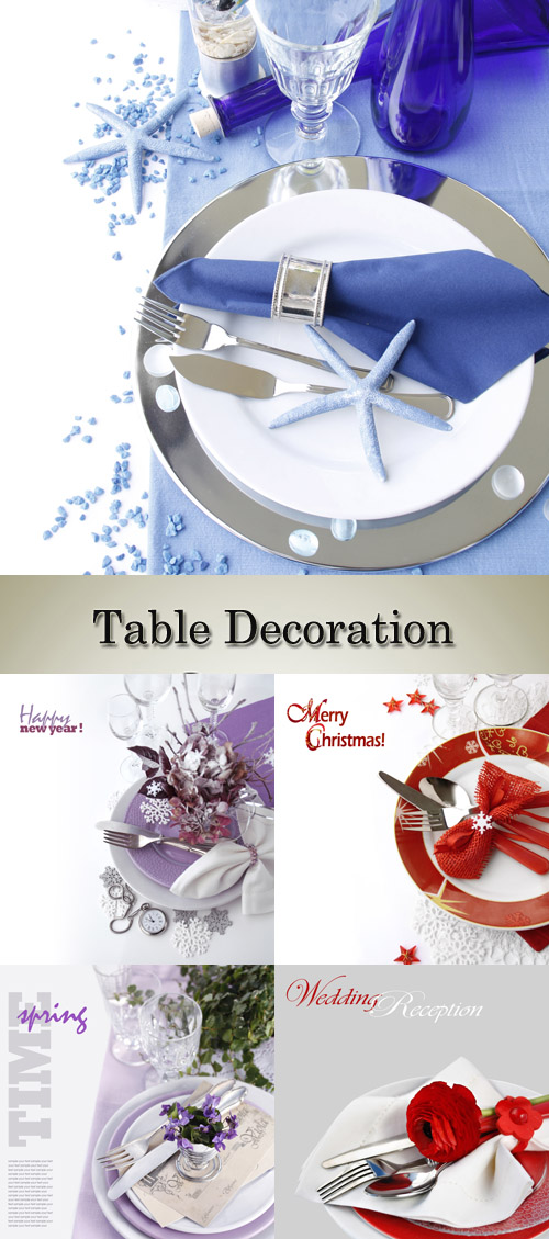 Stock Photo: Table decorating for New year