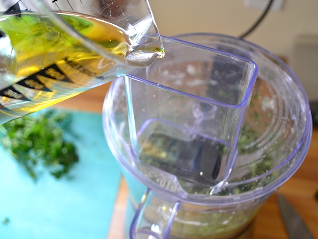 olive oil added to ingredients in food processor
