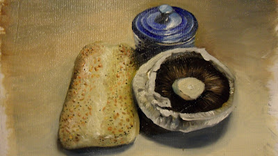 Bread and Mushroom, work in progress step 4 .Daily painting.