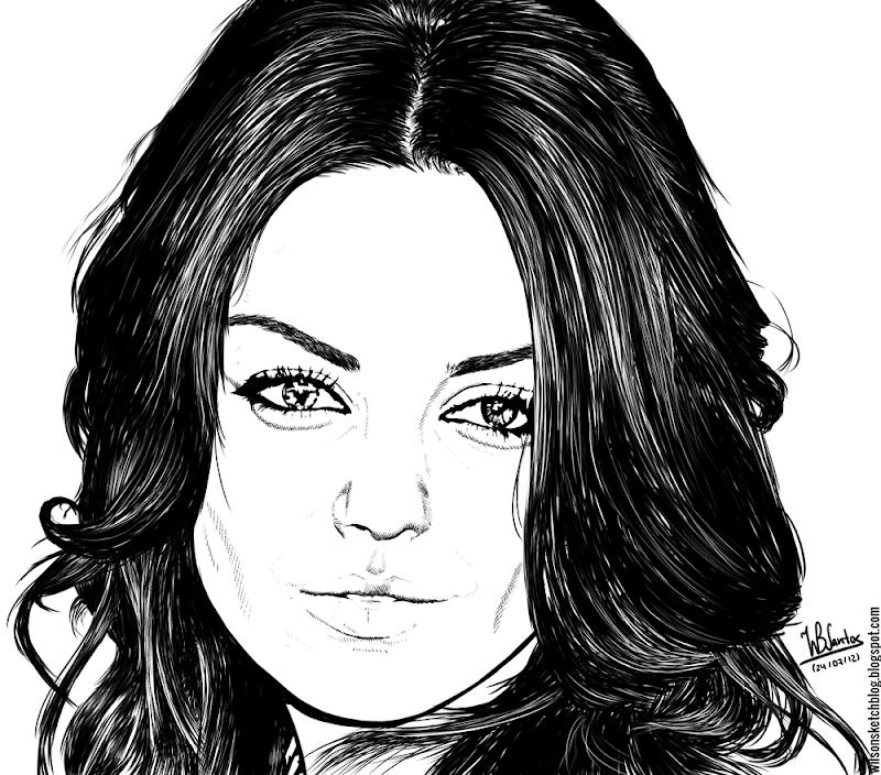 Ink drawing of Mila Kunis, using Krita 2.4.