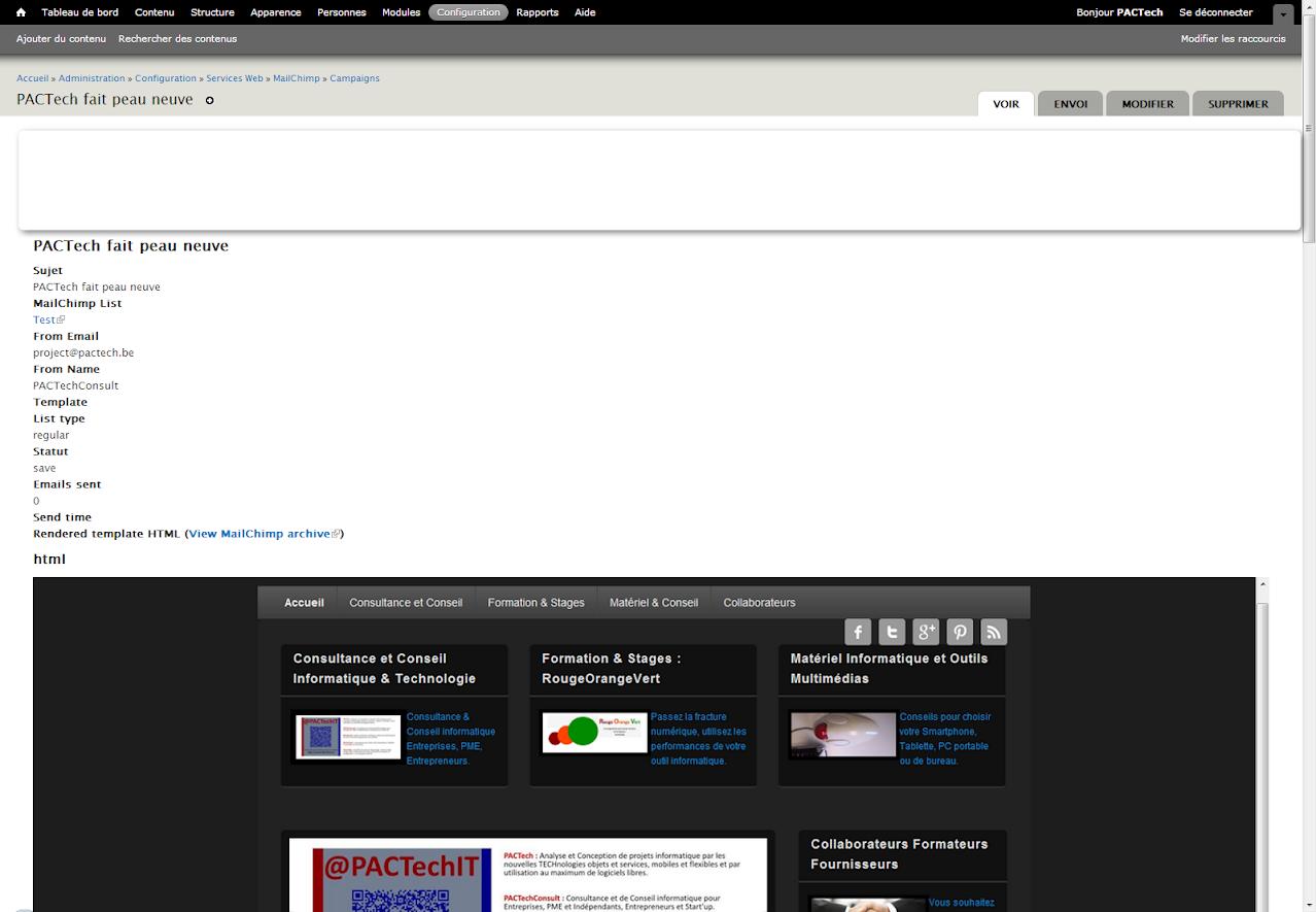 Mailchimp Campagne dans  Drupal NewsLetter Emailing ExpertE Formation RougeOrangeVert