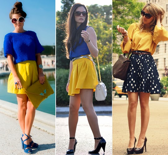 look azul e amarelo