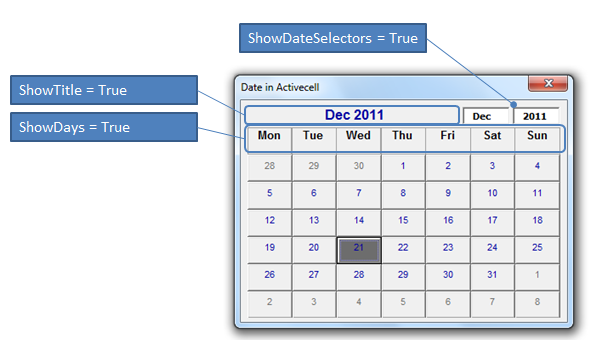 Calendar Control for All Office versions - including Office