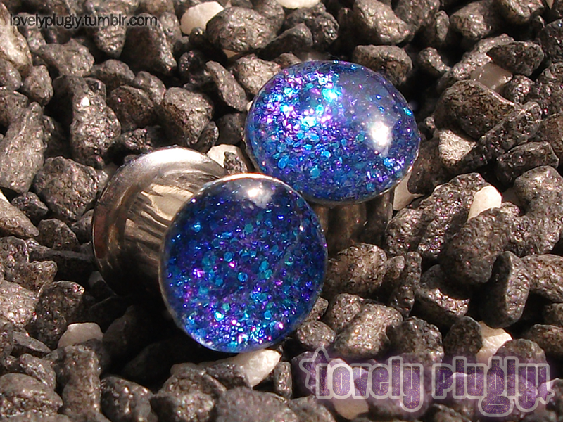8mm / 0g Blue and Purple Glitter Plugs