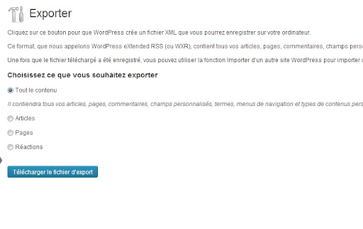 Exporter le blog Wordpress (2)