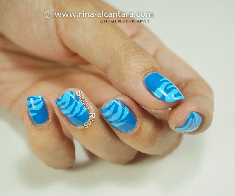 Blue Scratches Nail Art by Rina Alcantara