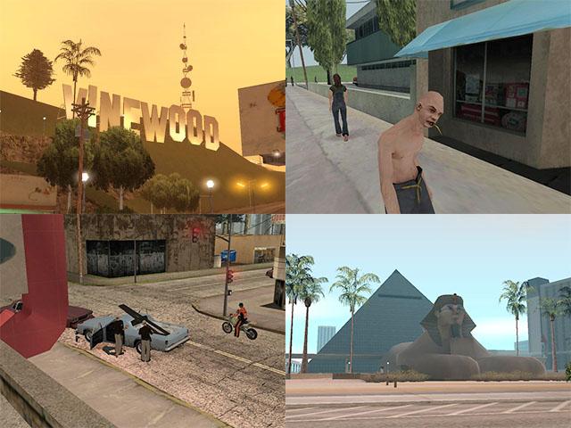 Fotografias de San Andreas: letreiro em Vinewood, tipo estranho na rua de cidade rural, polícia mantando civis, hotel com temática egípcia em Las Venturas