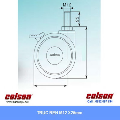 kích thước Bánh xe có khóa phi 100 CPT đôi Colson Caster Mỹ | CPT-4854-85BRK4