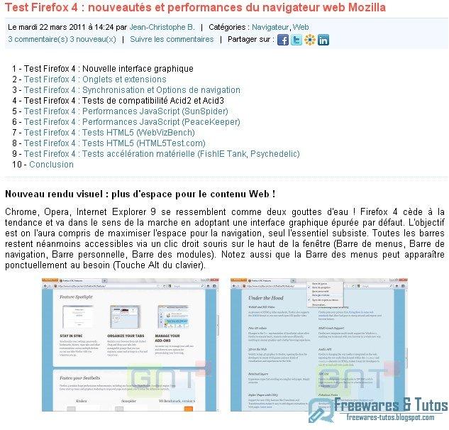 Le site du jour : Test de Firefox 4.0