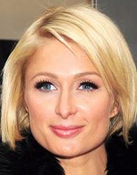 Paris Hilton, rosto quadrado, de chanel acima do maxilar