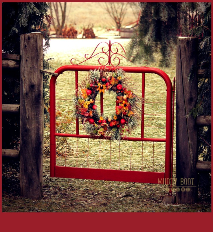 Red Country garden gate from Muddy Boot Dreams