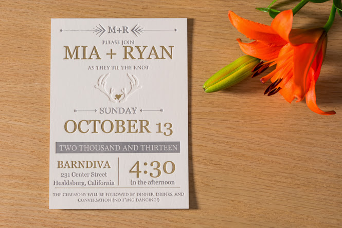 Mia & Ryan's Custom Letterpress Wedding Invitations