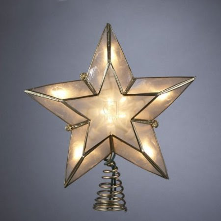 6-Inch Lighted Gold and Ivory Capiz Five-Point Star Christmas Tree Topper