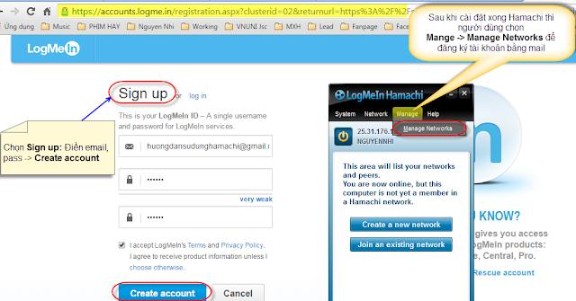 Hướng dẫn cài đặt truy cập từ xa qua internet cho phần mềm Dân Trí Soft với LogMeIn Hamachi.