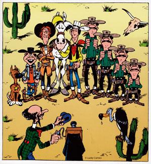 Bruselas Valonia: Lucky Lucke junto a los principales personajes del cómic, como los hermanos Dalton