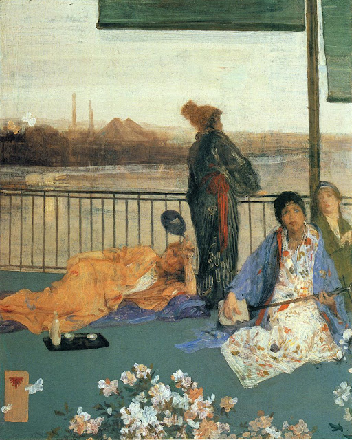 James Abbott McNeill Whistler - Variations in Flesh Colour and Green, The Balcony