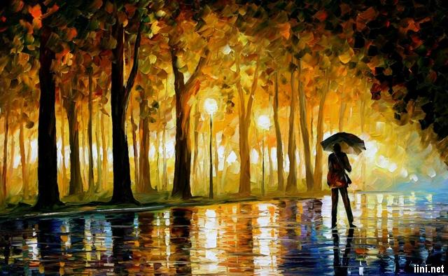 Một mình đi dưới trời mưa mùa Thu