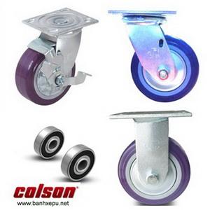 Bánh xe nhựa PU lõi PP càng bánh xe mạ kẽm chịu tải (243~370kg)