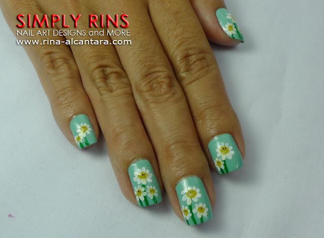 Dainty Daisies nail art design 03