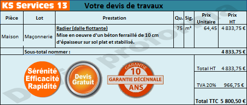 ks services 13 prix devis construction radier dalle