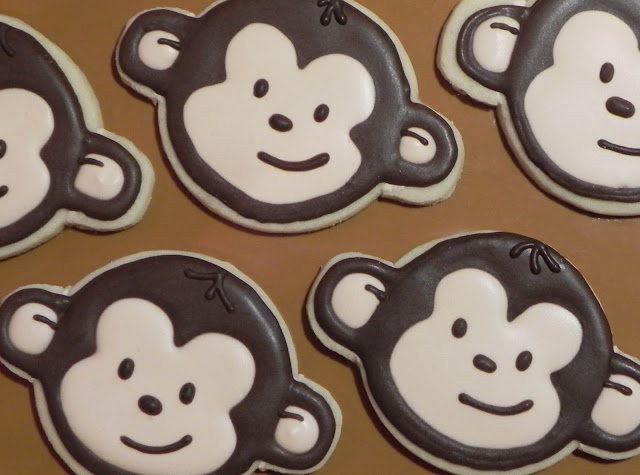 mod monkey boy birthday party sugar butter cookie royal icing frosting