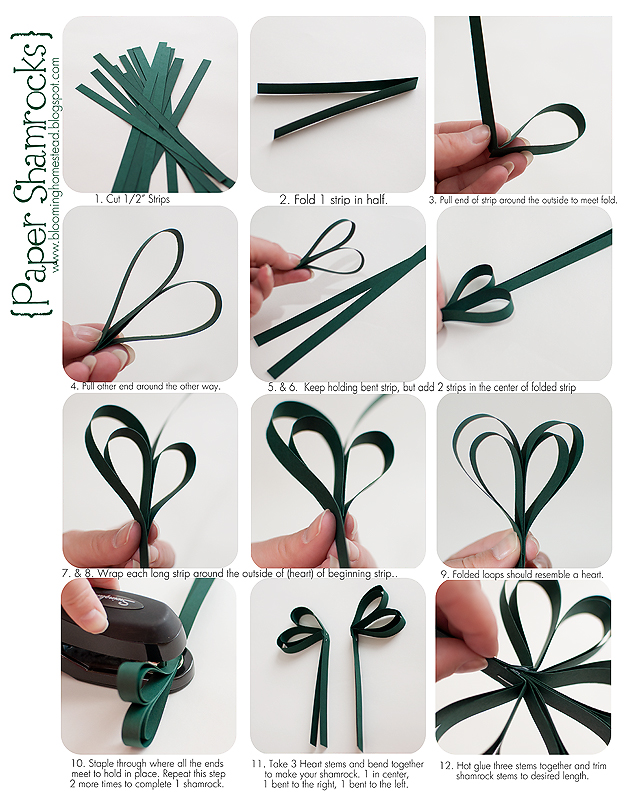 Easy DIY Paper Shamrock banner tutorial. Perfect for St. Patrick's Day.