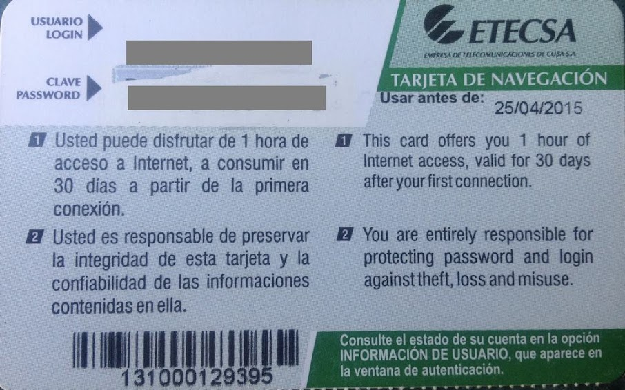 Tarjetas Internet Cuba